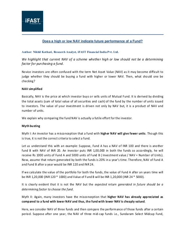 Does a high or low NAV indicate future performance of a Fund? Author: Nikhil Kothari, Research Analyst, iFAST Financial In...