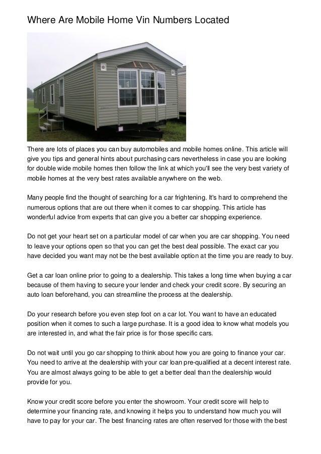 Mobile homes model number