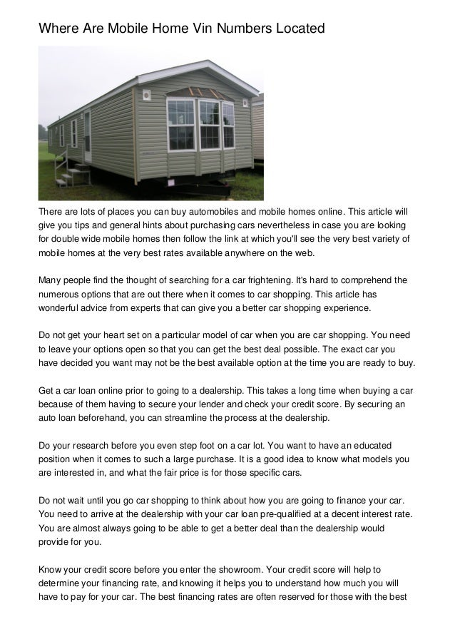 credit what to look for financing a mobile home