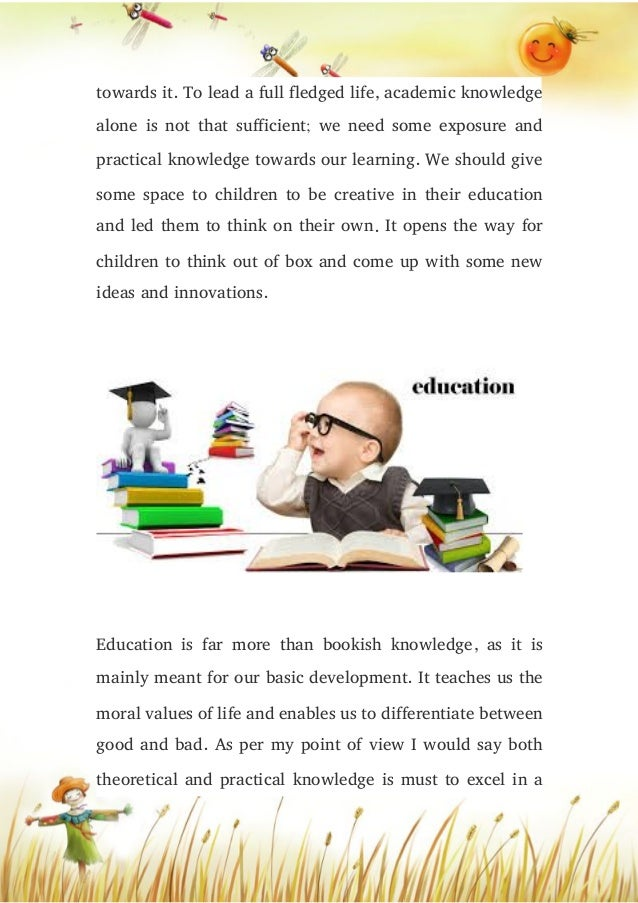 Does education mean only bookish knowledge