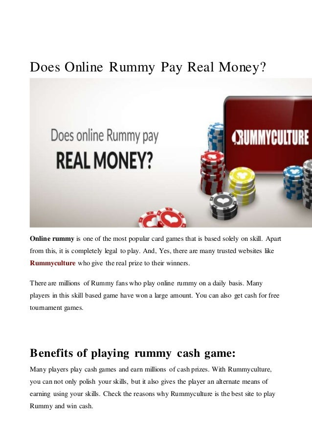 Play rummy with real cash no deposit