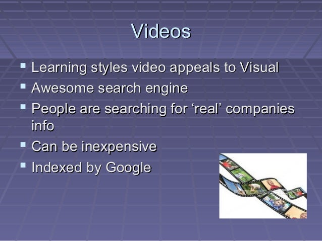 VideosVideos  Learning styles video appeals to VisualLearning styles video appeals to Visual  Awesome search engineAweso...