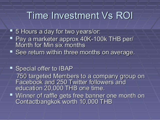 Time Investment Vs ROITime Investment Vs ROI  5 Hours a day for two years/or:5 Hours a day for two years/or:  Pay a mark...