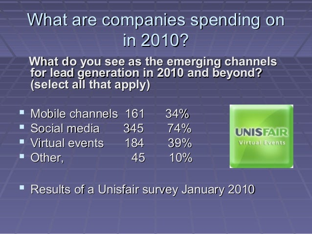 What are companies spending onWhat are companies spending on in 2010?in 2010? What do you see as the emerging channelsWhat...