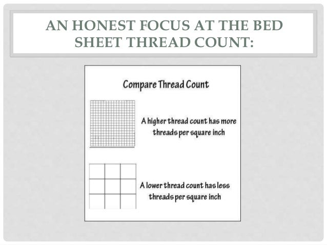 Beau AN HONEST FOCUS AT THE BED SHEET THREAD COUNT: ...