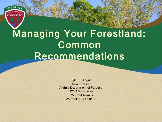 Managing Your Forestland: Common Recommendations Kyle D. Dingus Area Forester Virginia Department of Forestry NOVA Work Ar...