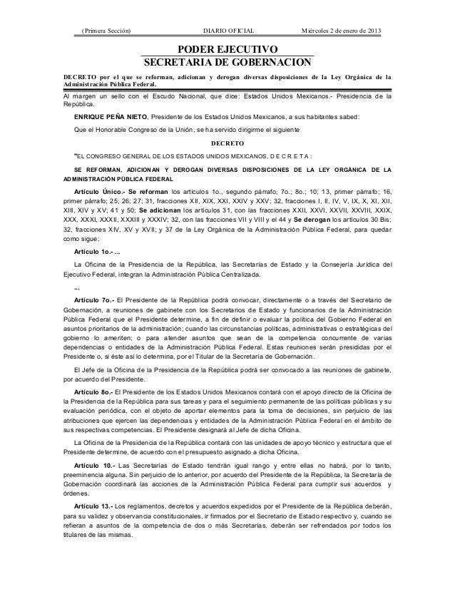 (Primera Sección)                      DIARIO OFICIAL                    Miércoles 2 de enero de 2013                     ...