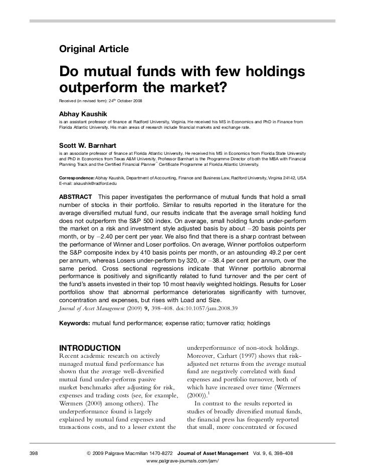 Original Article      Do mutual funds with few holdings      outperform the market?      Received (in revised form): 24th ...