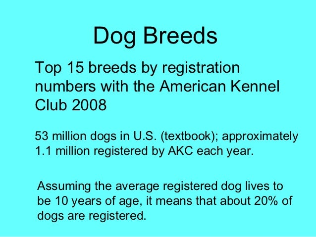 Dog BreedsTop 15 breeds by registrationnumbers with the American KennelClub 200853 million dogs in U.S. (textbook); approx...
