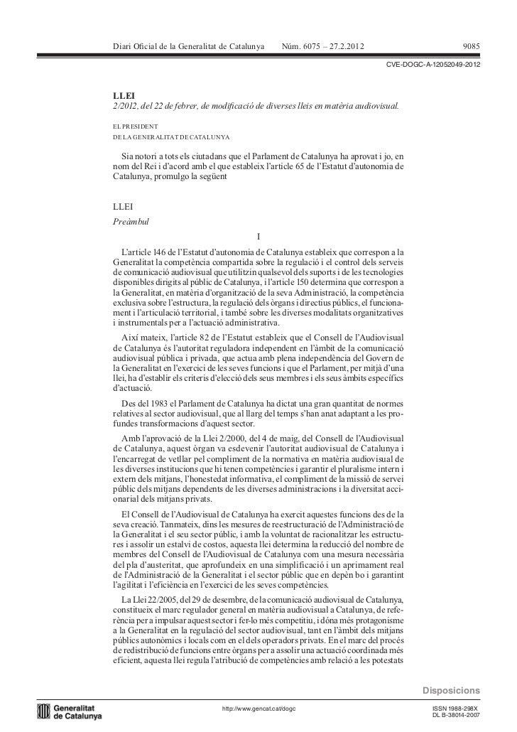 Diari Oicial de la Generalitat de Catalunya           Núm. 6075 – 27.2.2012                            9085               ...