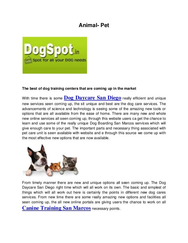 Animal- Pet The best of dog training centers that are coming up in the market With time there is some Dog Daycare San Dieg...