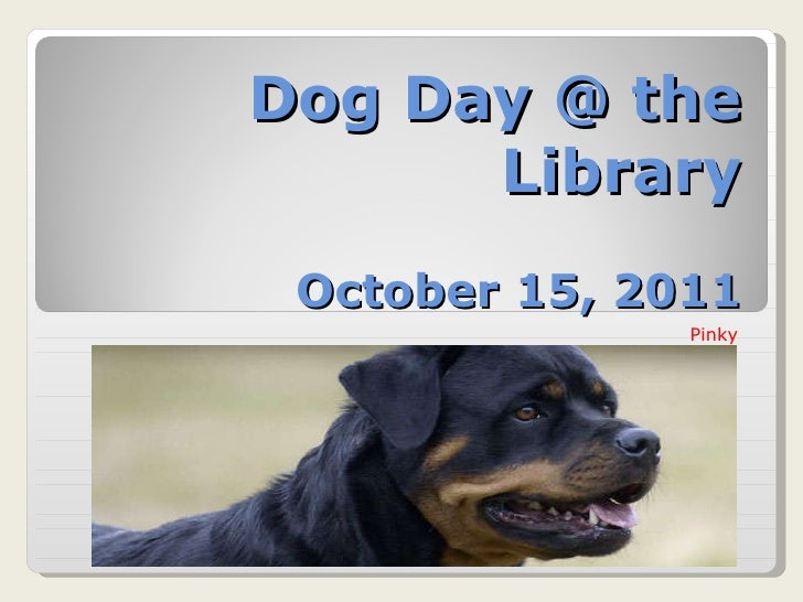 Dog Day @ the Library October 15, 2011 Pinky