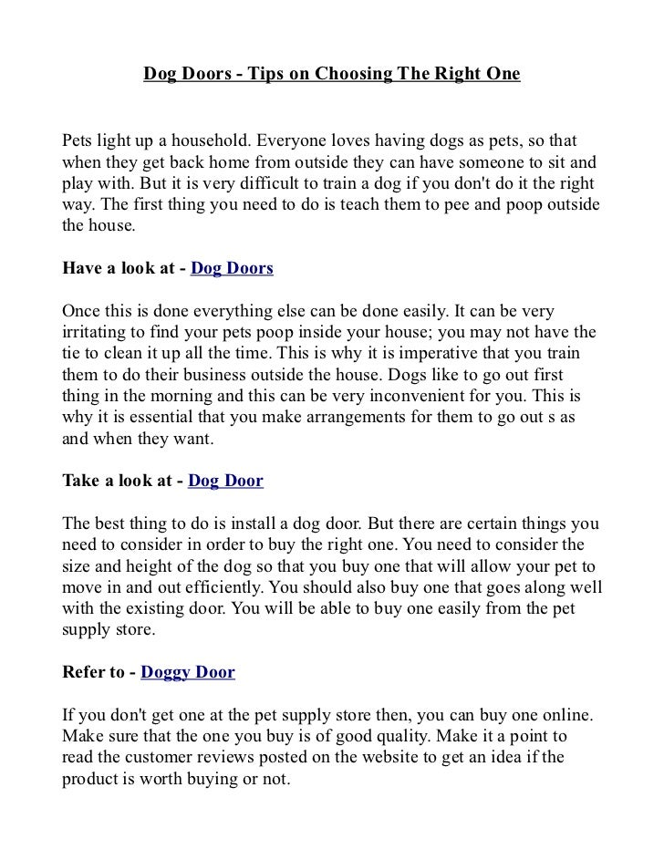 Dog Doors Tips On Choosing The Right One