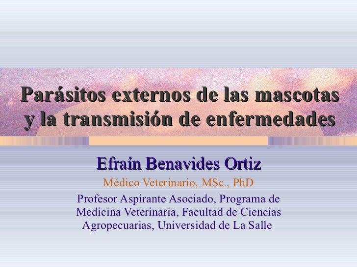 Parásitos externos de las mascotas y la transmisión de enfermedades Efraín Benavides Ortiz Médico Veterinario, MSc., PhD P...