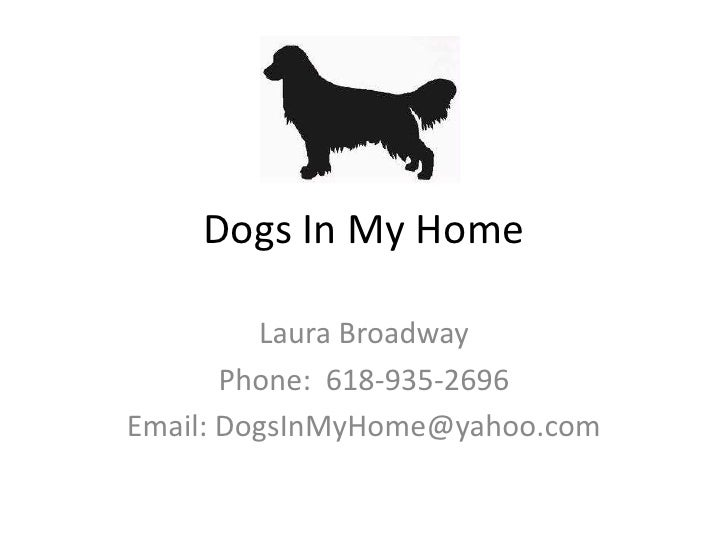 Dogs In My Home<br />Laura Broadway <br />Phone:  618-935-2696<br />Email: DogsInMyHome@yahoo.com<br />