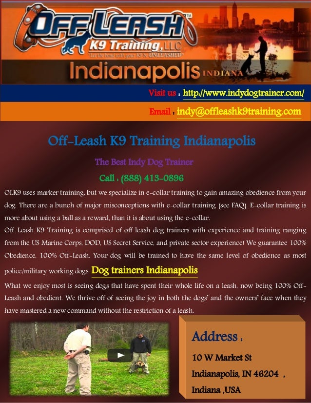 Off-Leash K9 Training Indianapolis The Best Indy Dog Trainer Call : (888) 413-0896 OLK9 uses marker training, but we speci...