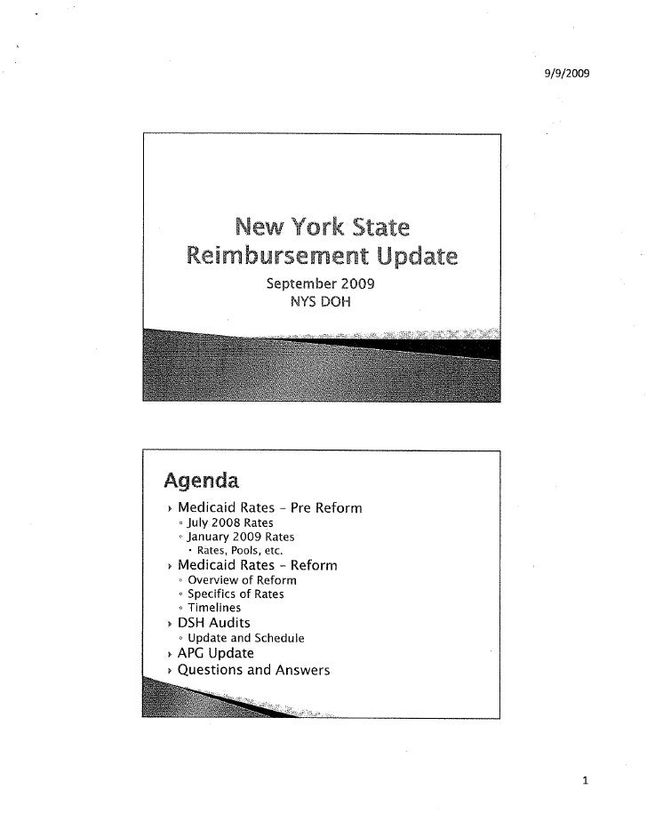 NYS DOH APR Reimbursement Update: September 2009