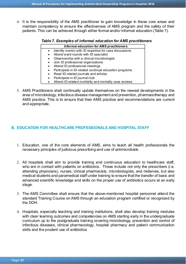 DOH Antimicrobial Stewardship Program in Hospitals Manual of Procedur…