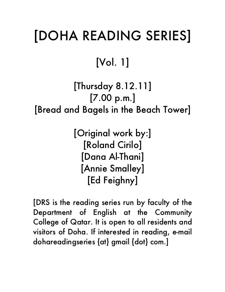 [DOHA READING SERIES]                   [Vol. 1]         [Thursday 8.12.11]             [7.00 p.m.][Bread and Bagels in th...