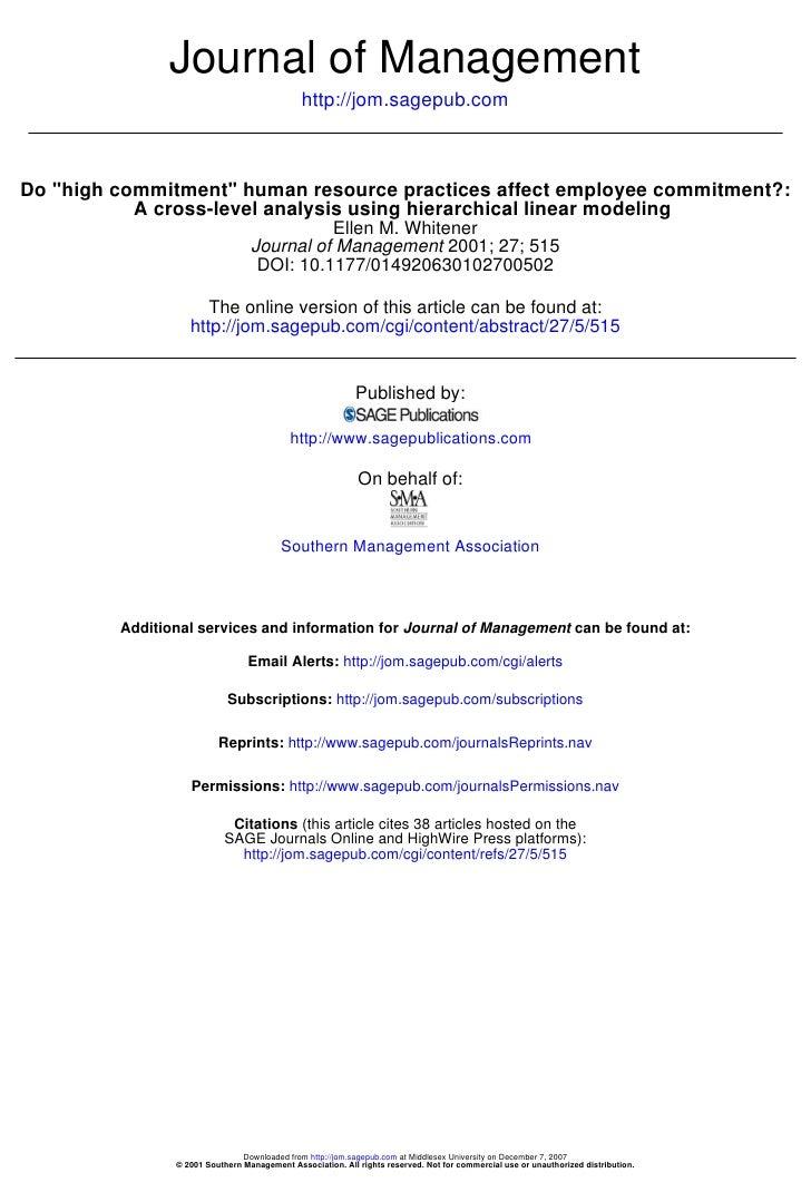 Journal of Management                                               http://jom.sagepub.com    Do quot;high commitmentquot;...