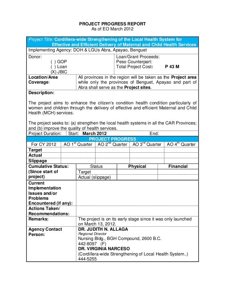 PROJECT PROGRESS REPORT                              As of EO March 2012Project Title: Cordillera-wide Strengthening of th...