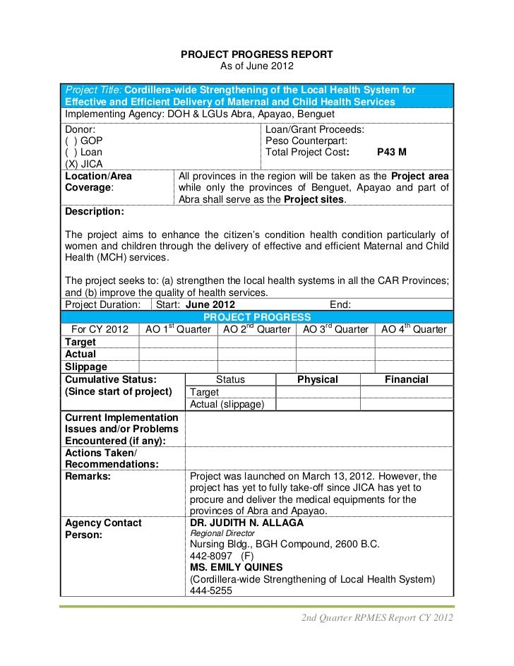PROJECT PROGRESS REPORT                                As of June 2012Project Title: Cordillera-wide Strengthening of the ...
