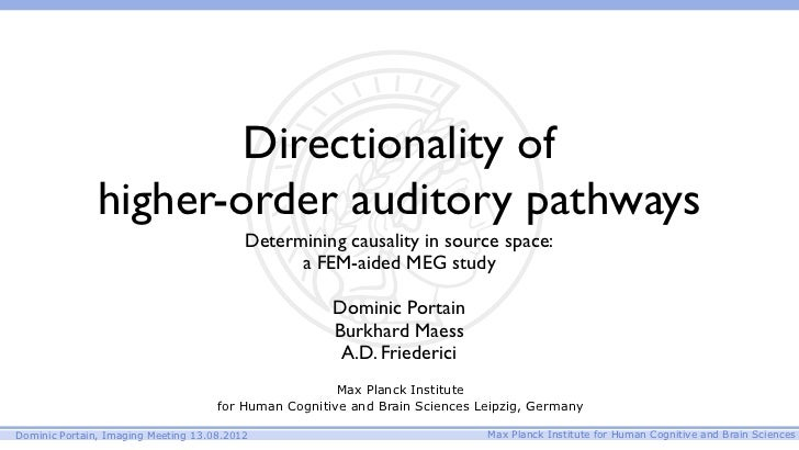 Directionality of               higher-order auditory pathways                                          Determining causal...