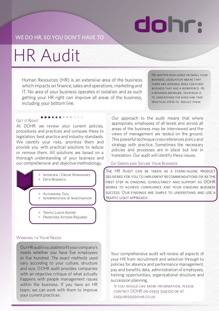 WE DO HR, SO YOU DON'T HAVE TOHR Audit                                                                                No m...