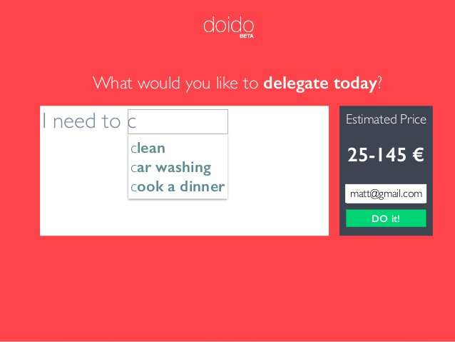 What would you like to delegate today? Estimated Price DO it! 0 € I need to c clean car washing cook a dinner 25-140 €25-8...
