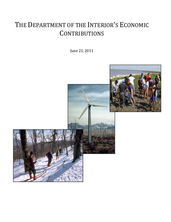 THE DEPARTMENT OF THE INTERIOR'S ECONOMIC            CONTRIBUTIONS                June 21, 2011