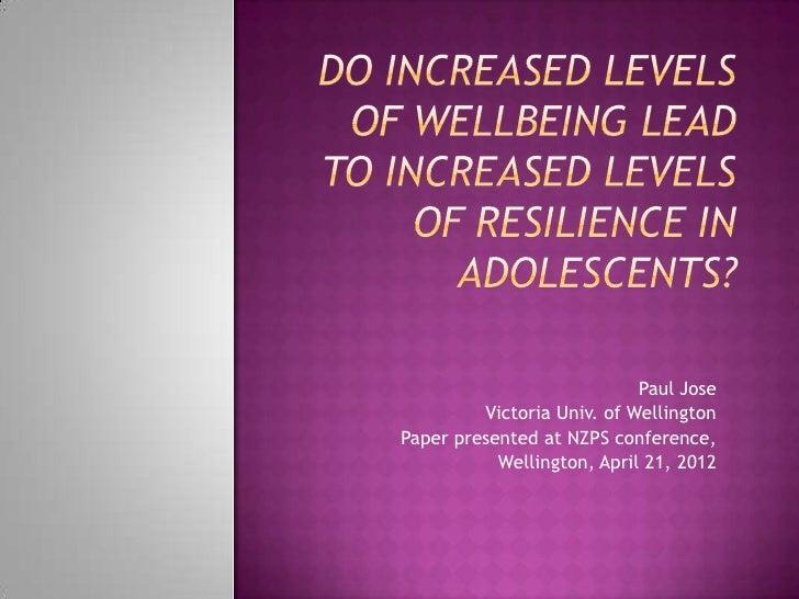 Paul Jose         Victoria Univ. of WellingtonPaper presented at NZPS conference,           Wellington, April 21, 2012