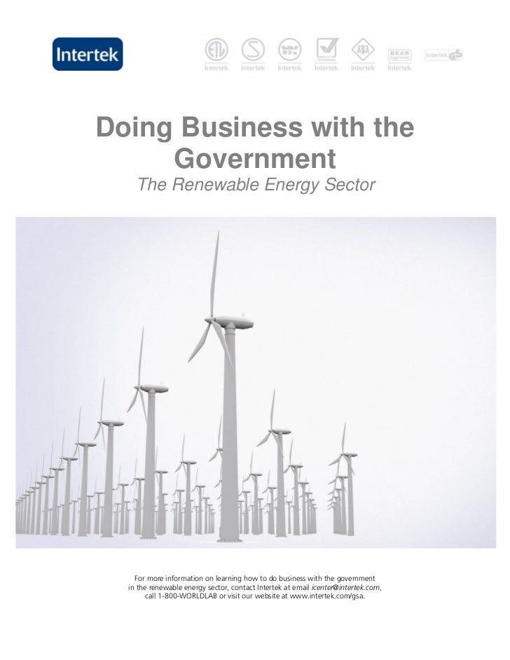 Doing Business with the     Government    The Renewable Energy Sector    For more information on learning how to do busine...