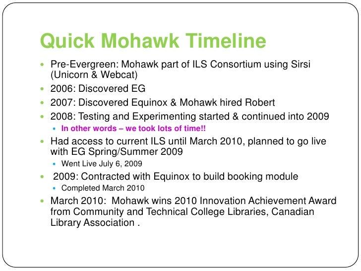 Quick Mohawk Timeline<br />Pre-Evergreen: Mohawk part of ILS Consortium using Sirsi (Unicorn & Webcat)<br />2006: Discover...
