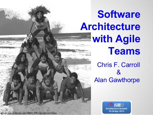 SoftwareArchitecturewith AgileTeamsChris F. Carroll&Alan Gawthorpephoto: http://d.lib.ncsu.edu ua023_025 copyright not known