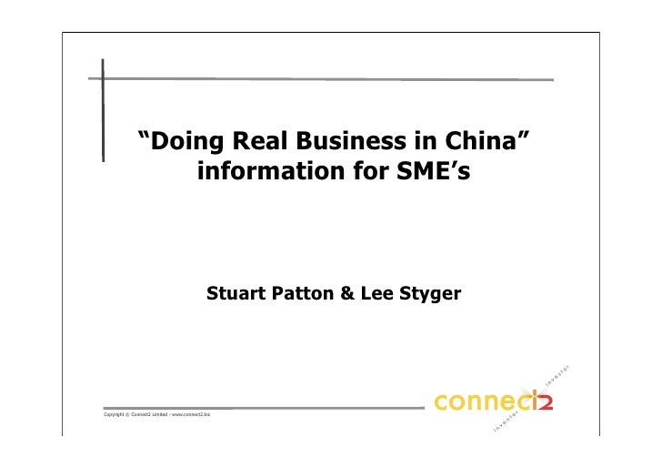 """""""Doing Real Business in China""""                    information for SME's                                                 St..."""