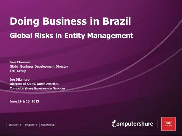Jase ChoenniGlobal Business Development DirectorTMF GroupJoe DiLandroDirector of Sales, North AmericaComputershare Governa...