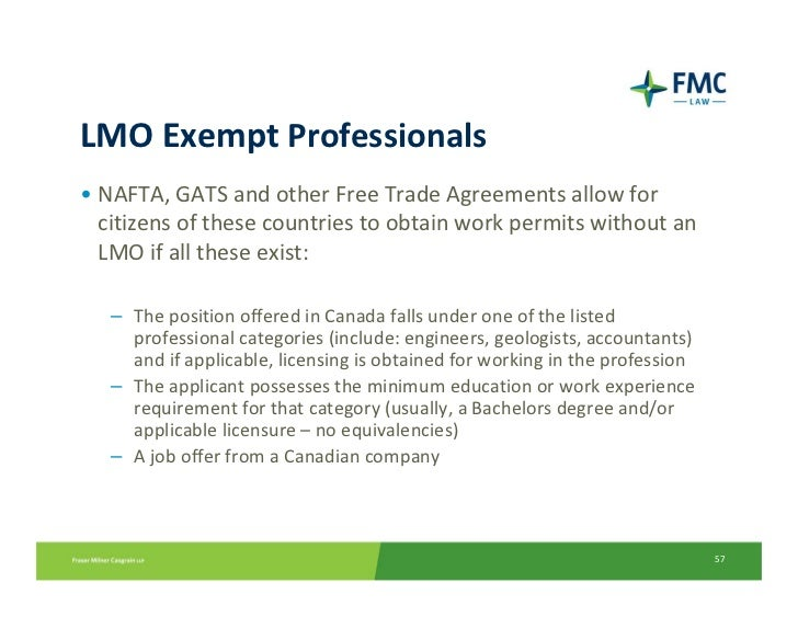 Lmo Exempt Professionals Nafta Gats And Other Free Trade Agreements