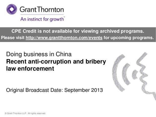 Doing business in China – Recent anti-corruption and bribery