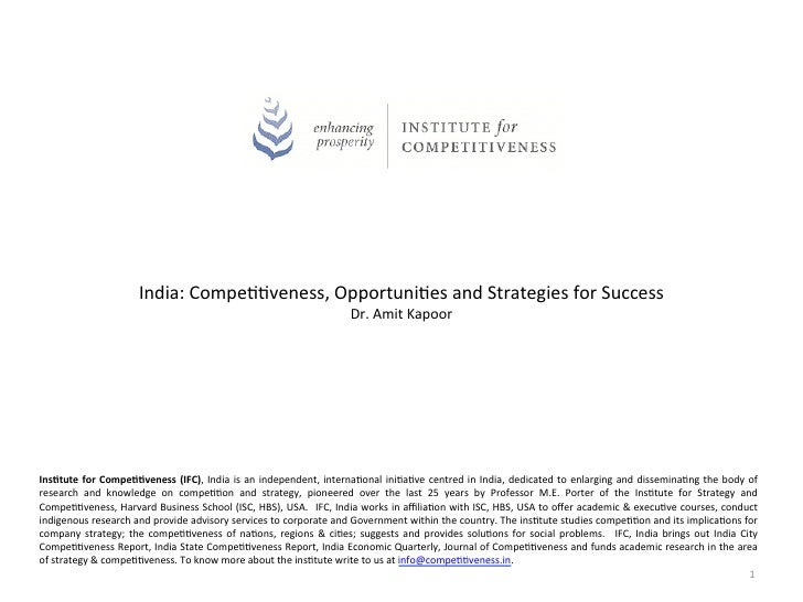India: Compe--veness, Opportuni-es and Strategies for Success                                               ...