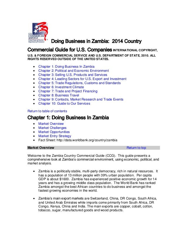 Dr Dev Kambhampati | Doing Business in Zambia - 2014 Country