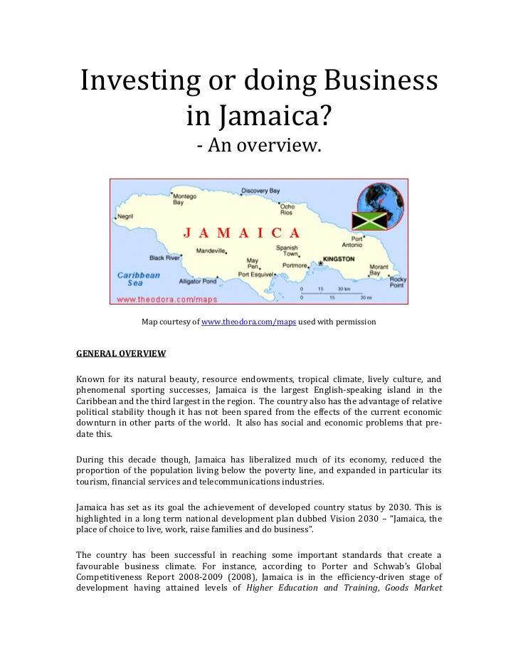 Investing or doing Business        in Jamaica?                              - An overview.                Map courtesy of ...