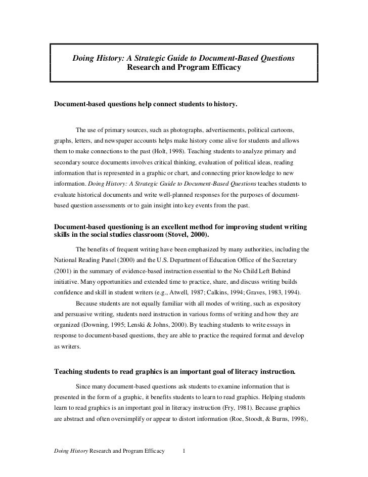 Doing History: A Strategic Guide to Document-Based Questions                      Research and Program EfficacyDocument-ba...