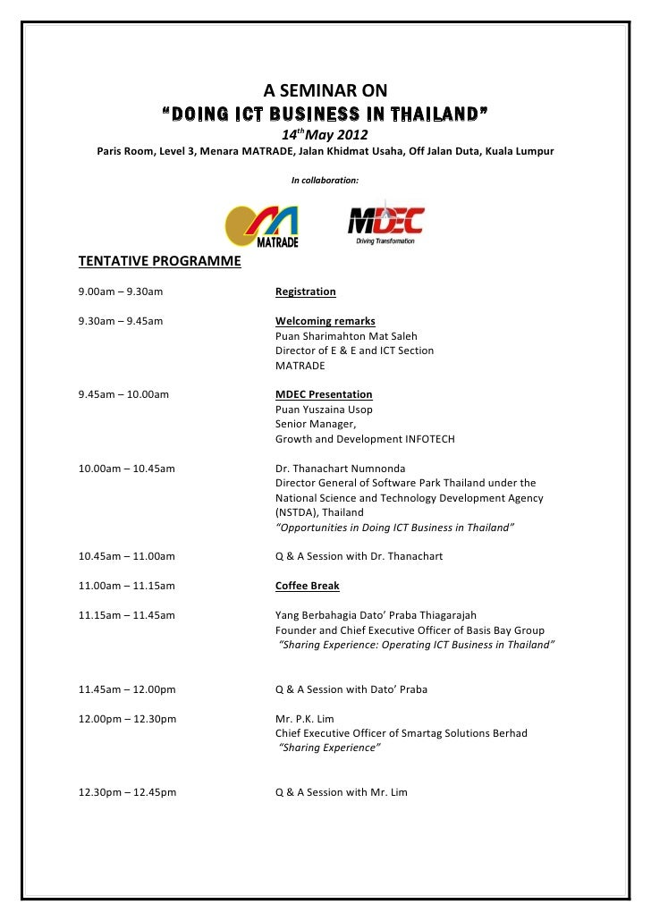 """A SEMINAR ON               """"DOING ICT BUSINESS IN THAILAND""""                                     14thMay 2012   Paris Room,..."""