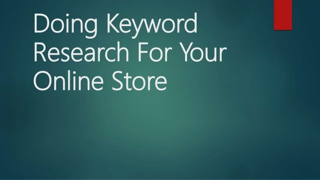 Doing Keyword Research For Your Online Store