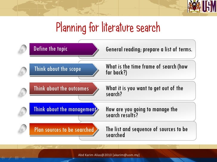 search plan part of literature review