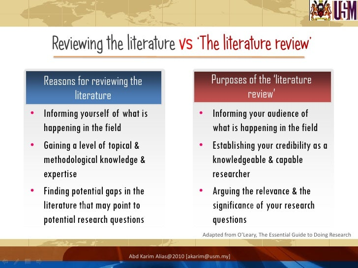 Reasons for literature review