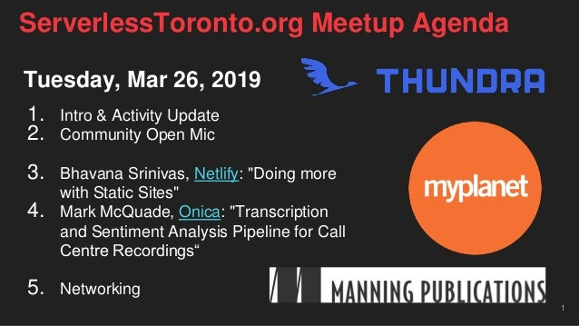 "Tuesday, Mar 26, 2019 1. Intro & Activity Update 2. Community Open Mic 3. Bhavana Srinivas, Netlify: ""Doing more with Stat..."