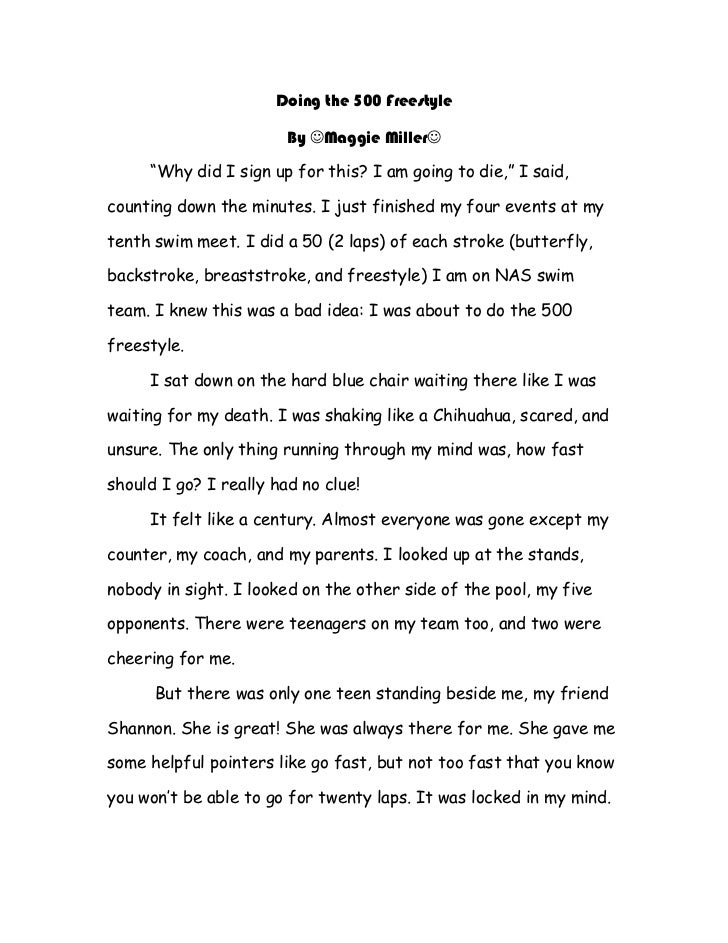 """Doing the 500 Freestyle                        By Maggie Miller     """"Why did I sign up for this? I am going to die,"""" I s..."""