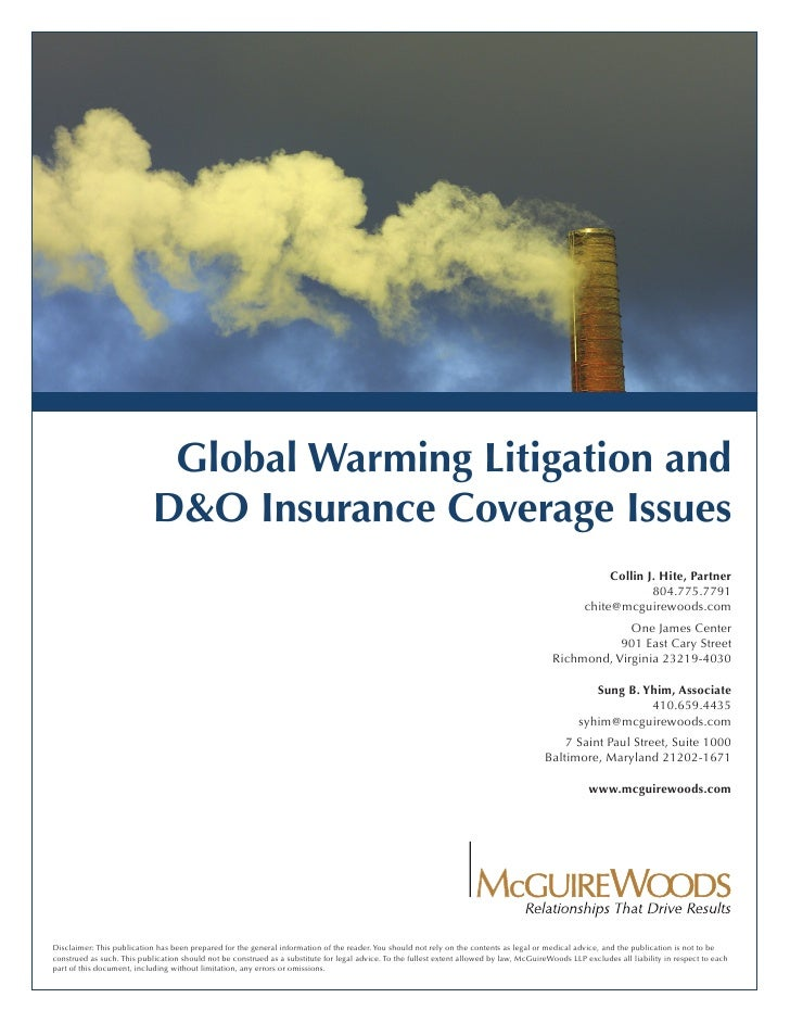 Global Warming Litigation and                             D&O Insurance Coverage Issues                                   ...