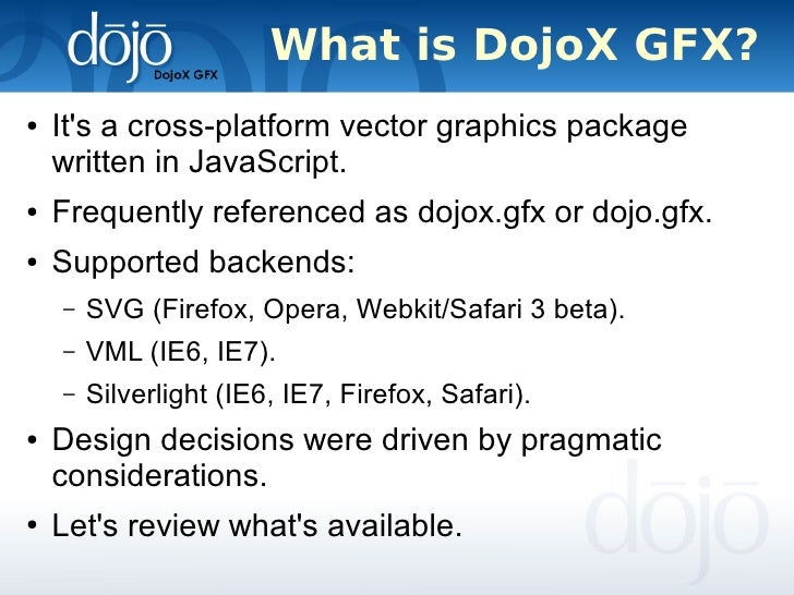 DojoX GFX Keynote Eugene Lazutkin SVG Open 2007